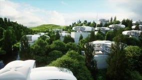 Футуристический город, деревня Концепция будущего вид с воздуха Реалистическая анимация 4K иллюстрация штока