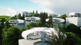 Футуристический город, деревня Концепция будущего вид с воздуха Реалистическая анимация 4K видеоматериал