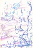 Футуристический город и фантастичные голубые лианы Стоковое фото RF