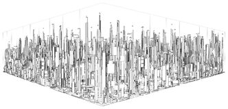 Футуристический город мегаполиса вектора небоскребов Стоковая Фотография