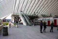 Футуристический железнодорожный вокзал liege-Guillemins Стоковые Фото