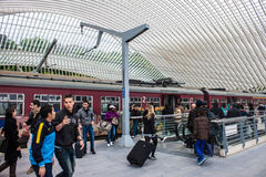 Футуристический железнодорожный вокзал liege-Guillemins Стоковые Изображения RF