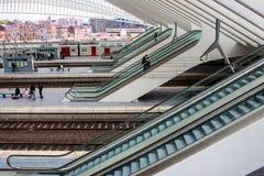 Футуристический железнодорожный вокзал liege-Guillemins Стоковые Фотографии RF
