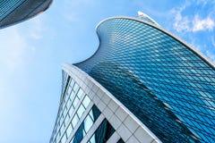 Футуристический дизайн небоскребов Москв-города Стоковое Изображение