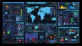 Футуристический интерфейс центра управления (петля готовая) видеоматериал