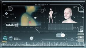 Футуристический интерфейс HUD и диаграммы гуманоида видеоматериал