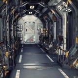 Футуристический интерьер тоннеля или корабля коридора научной фантастики металла 3d закрепляя легкую редактируя иллюстрацию архив Стоковое Фото