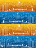 Футуристический комплект панорамы инфраструктуры городской жизни Промышленная иллюстрация энергии Гидро электростанция Запруда ре Стоковое Изображение RF