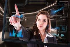 Футуристический компьютер экрана касания стоковое изображение