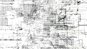 Футуристический конспект программируя flythrough темного кода безшовное иллюстрация вектора