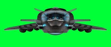 Футуристический корабль изолированный на зеленом переводе предпосылки 3D Стоковая Фотография RF