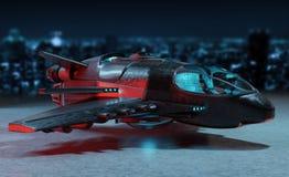 Футуристический корабль изолированный на темном переводе предпосылки 3D Стоковые Фотографии RF