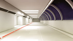 Футуристический коридор интерьера космического корабля Стоковое Изображение RF