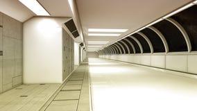 Футуристический коридор интерьера космического корабля Стоковые Фото