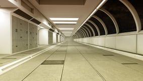 Футуристический коридор интерьера космического корабля Стоковые Изображения