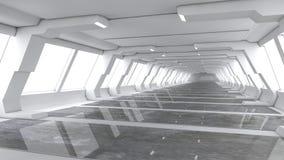 Футуристический коридор интерьера космического корабля Стоковые Фотографии RF