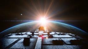Футуристический космический корабль в космосе Реалистическая анимация 4K бесплатная иллюстрация