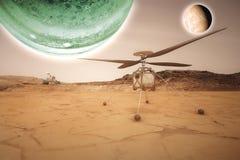 Футуристический повреждает vasts вездехода исследуя красной планеты b стоковое изображение
