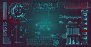 Футуристический пользовательский интерфейс с элементами infographics и уникально шрифтом дисплей космоса Предпосылка вектора иллюстрация штока
