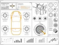 Футуристический пользовательский интерфейс Абстрактный виртуальный графический пользовательский интерфейс касания Автомобили info Стоковые Изображения RF
