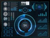 Футуристический пользовательский интерфейс Космическое пространство предпосылки Hud элементы infographic Цифровые данные, предпос Стоковое Фото