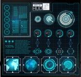 Футуристический пользовательский интерфейс Космическое пространство предпосылки Hud элементы infographic Цифровые данные, предпос Стоковые Фото