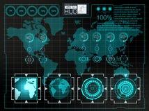 Футуристический пользовательский интерфейс Космическое пространство предпосылки Hud элементы infographic Цифровые данные, предпос Стоковое Изображение RF
