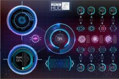 Футуристический пользовательский интерфейс Космическое пространство предпосылки Hud элементы infographic Цифровые данные, предпос Стоковое Изображение