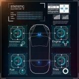 Футуристический пользовательский интерфейс HUD UI Абстрактный виртуальный графический пользовательский интерфейс касания Автомоби Стоковая Фотография