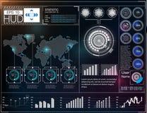 Футуристический пользовательский интерфейс HUD UI Абстрактный виртуальный графический пользовательский интерфейс касания Космичес Стоковые Фотографии RF