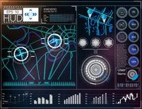 Футуристический пользовательский интерфейс HUD UI Абстрактный виртуальный графический пользовательский интерфейс касания Космичес Стоковое Изображение