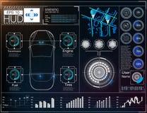 Футуристический пользовательский интерфейс HUD UI Абстрактный виртуальный графический пользовательский интерфейс касания Автомоби Стоковые Фото