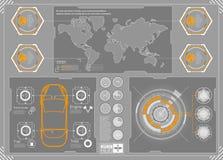 Футуристический пользовательский интерфейс HUD UI Абстрактный виртуальный графический пользовательский интерфейс касания Автомоби Стоковые Изображения RF