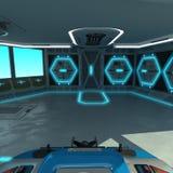 Футуристический проект корабл-вырезывания Мост команды корабля Блоки управления пульта управления и паллета Стоковое Изображение