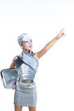 Футуристический состав серебра девушки детей способа Стоковое фото RF
