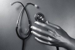футуристический стетоскоп серебра здоровья руки стоковые фотографии rf