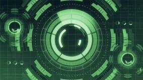 Футуристический цифровой пользовательский интерфейс технологии HUD, экран радара с различным деловым сообществом элементов технол иллюстрация штока