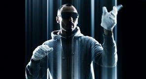 Футуристическое кибернетическое преступление нападения хакера Стоковое фото RF