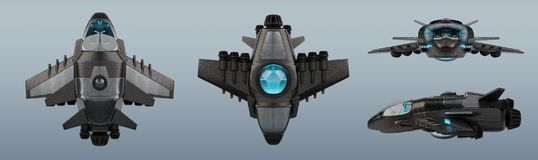 Футуристическое собрание корабля изолированное на серой предпосылке 3D иллюстрация вектора