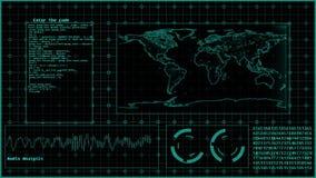 Футуристическое hud технологии на черной предпосылке иллюстрация вектора