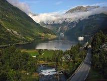 Фьорд Geiranger, Норвегия Стоковые Фотографии RF