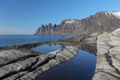 Фьорд Норвегии в Senja, Норвегии Стоковое Изображение