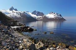 Фьорд Норвегии в Senja, Норвегии Стоковые Фото