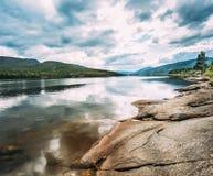 Фьорд природы Норвегии, время осени Стоковые Изображения