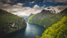 Фьорд Geiranger, красивая природа Норвегия Стоковое Фото