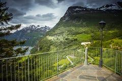 Фьорд Geiranger, красивая природа Норвегия Стоковая Фотография