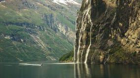 Фьорд Geiranger, красивая природа Норвегия Стоковые Изображения RF
