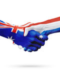 Флаги Австралия, нидерландские страны, приятельство партнерства, национальная спортивная команда Стоковое Изображение RF