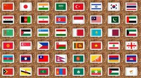 флаги Азии Стоковые Фотографии RF