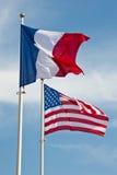 Флаги американца и француза Стоковое Изображение